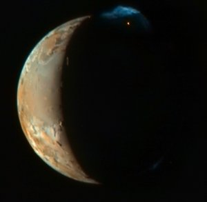 Picture of Io, with volcano
