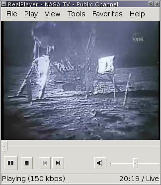 Realplayer showing NASA TV