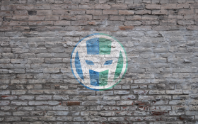 HeroPress logo, large size, on grey brick.