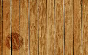 Rough hewn wood paneling, WordPress logo branded into the bottom left