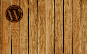 Rough hewn wood paneling, WordPress logo branded into the top left