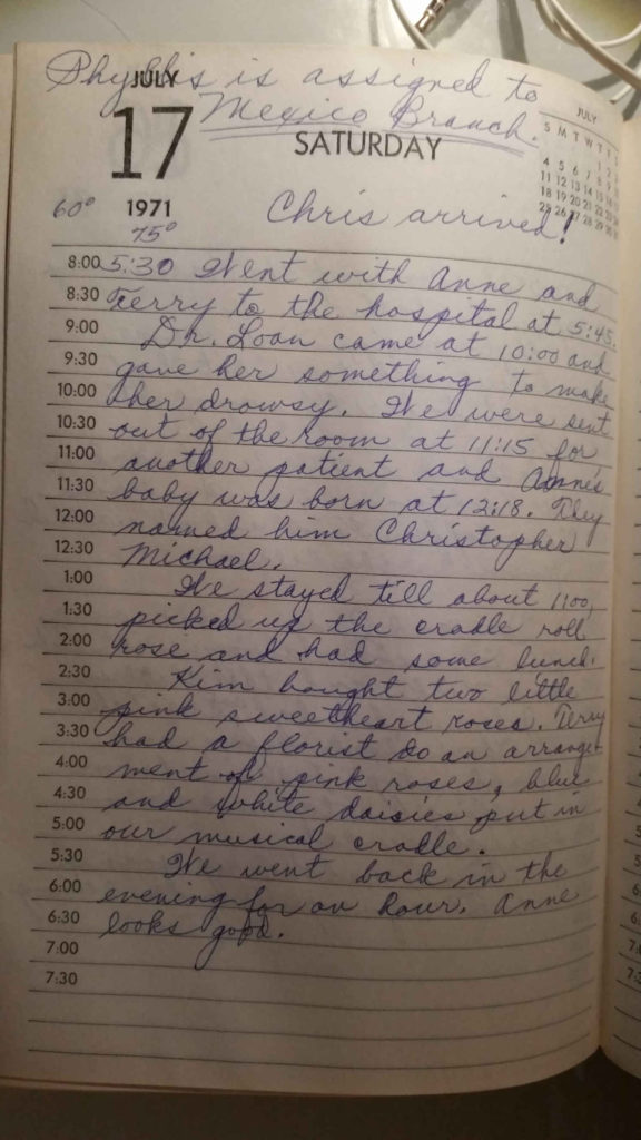 A page from my grandma's diary, describing my birth