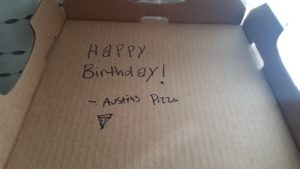The pizza place sent me a nice note inside the pizza box.