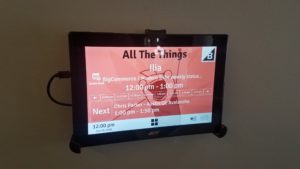 Cool tablets outside each meeting room show who was using the room now and next.