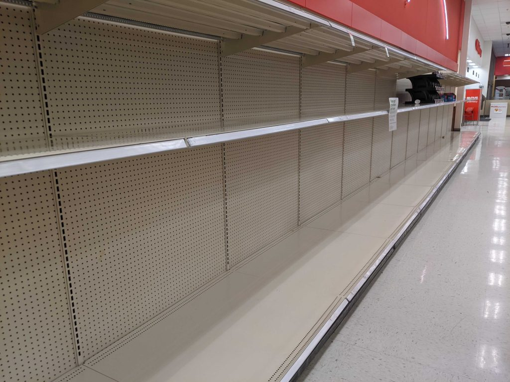 Empty shelves at Target.